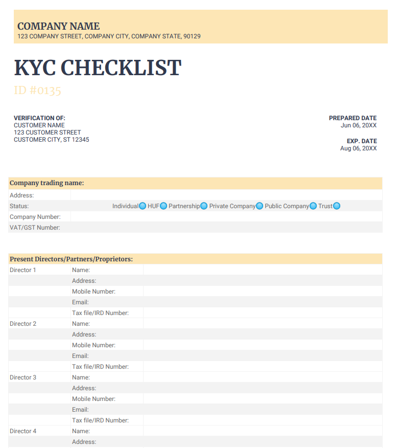 KYC checklist for using with KYC software